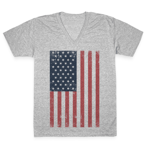 American Flag Distressed V-Neck Tee Shirt