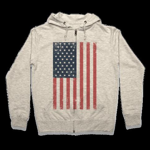 American Flag Distressed Zip Hoodie