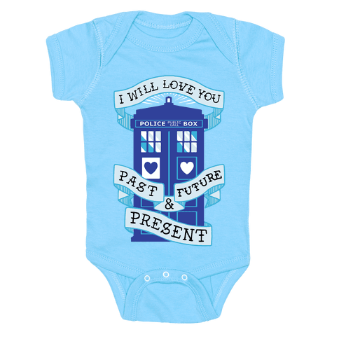 Doctor Who Love Past Future Present Baby Onesy