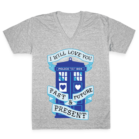 Doctor Who Love Past Future Present V-Neck Tee Shirt