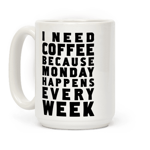 I Need Coffee Because Monday Happens Every Week