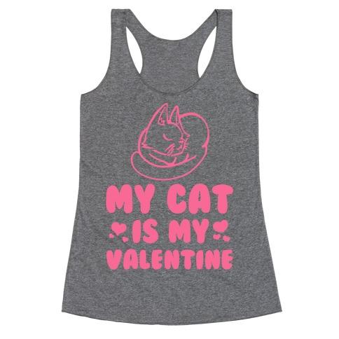 My Cat is My Valentine Racerback Tank Top