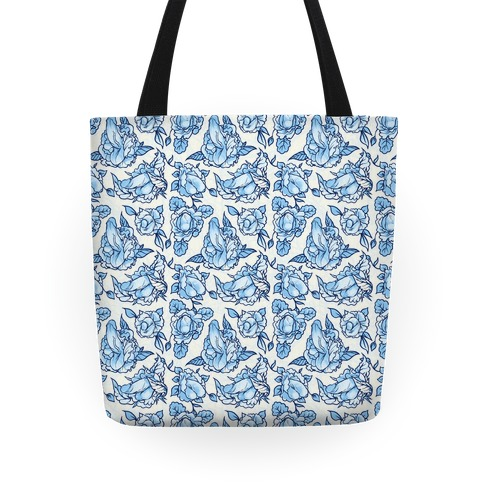 Floral Penis Pattern Blue Tote