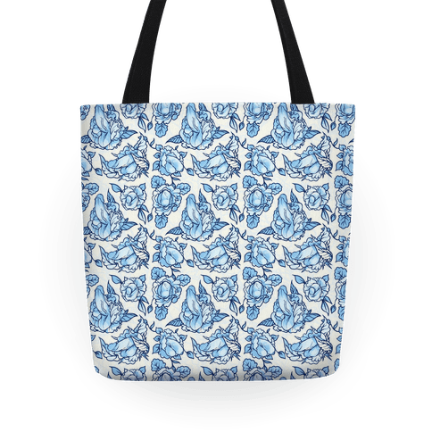 Floral Penis Pattern Blue Tote Bag | LookHUMAN
