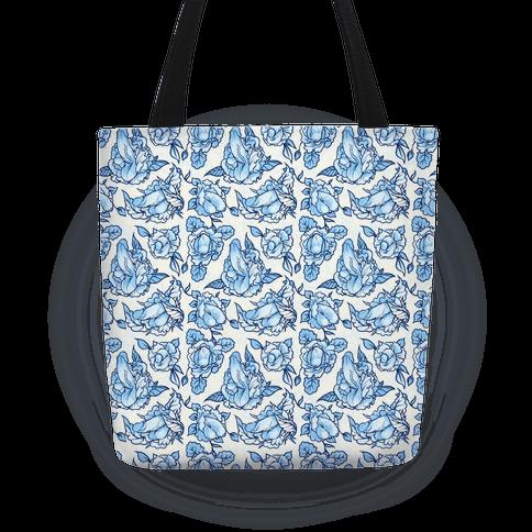 045a65209d Floral Penis Pattern Blue Tote Bag