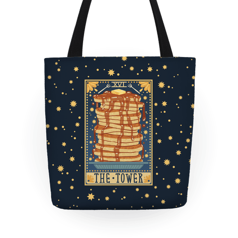 Tarot Card: The Tower (Of Pancakes) Tote