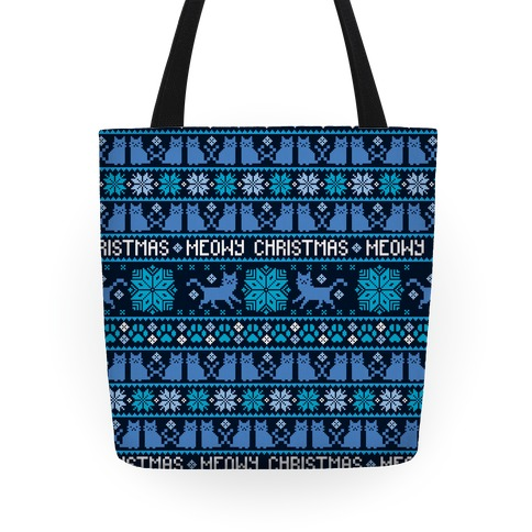 Meowy Christmas Cat Sweater Pattern Tote