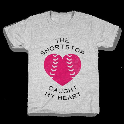 The Shortstop Caught My Heart (Baseball Tee) Kids T-Shirt