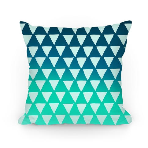 Triangle Teal Ombre Pattern Pillow