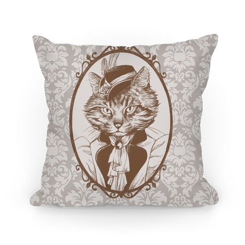 Victorian Portrait of Cat Lady Pillow