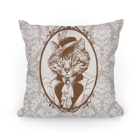 Victorian Portrait of Cat Lady Pillow