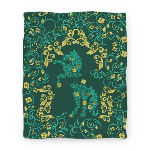 Equestrian Floral Pattern Blanket