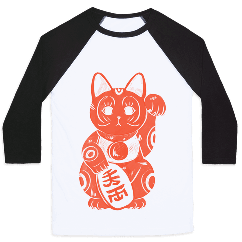 Japanese Lucky Cat Baseball Tee