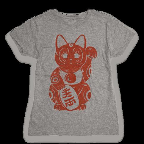 Japanese Lucky Cat Womens T-Shirt