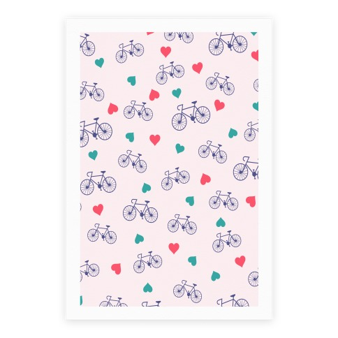 Bikes and Heart Pattern Poster