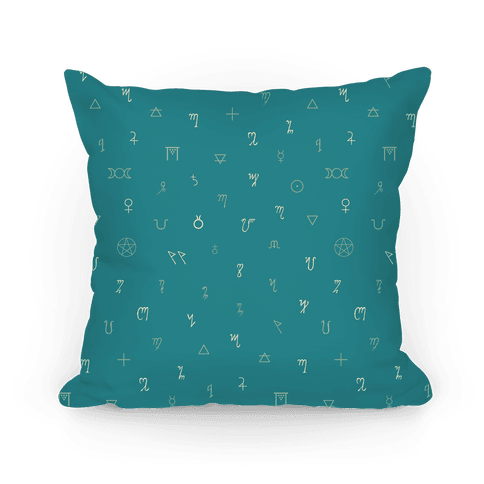 Wiccan Witchcraft Symbols (Blue) Pillow
