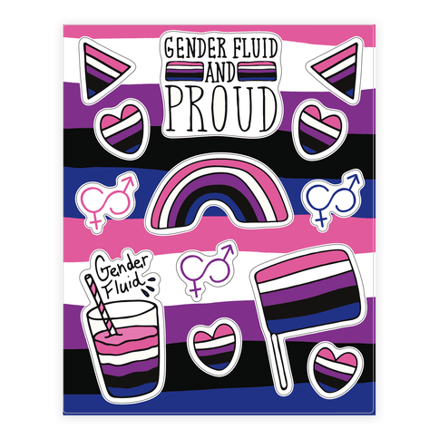 Gender Fluid Pride  Sticker/Decal Sheet