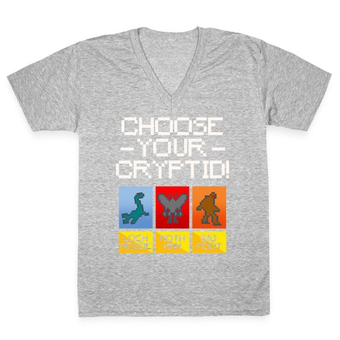 Choose Your Cryptid White Print V-Neck Tee Shirt