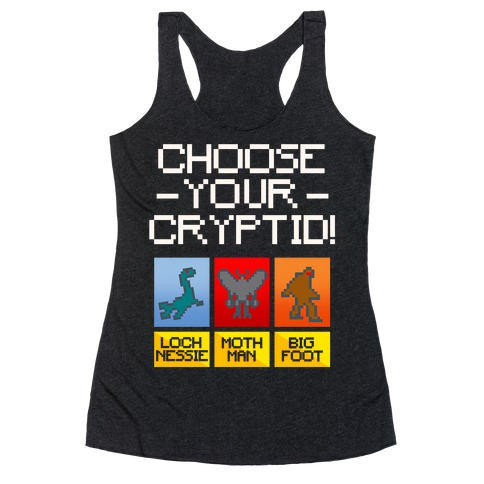 Choose Your Cryptid White Print Racerback Tank Top