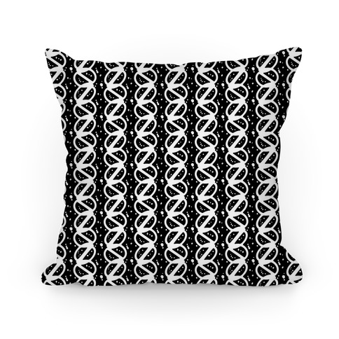 Black and White Braid Stripe Pattern Pillow