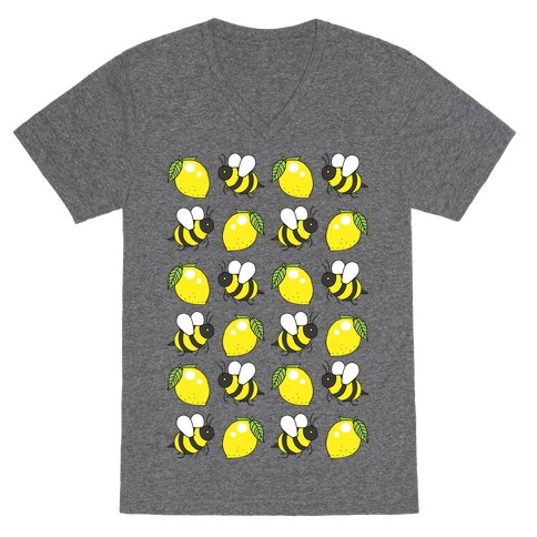 Lemon And Bee V-Neck Tee Shirt