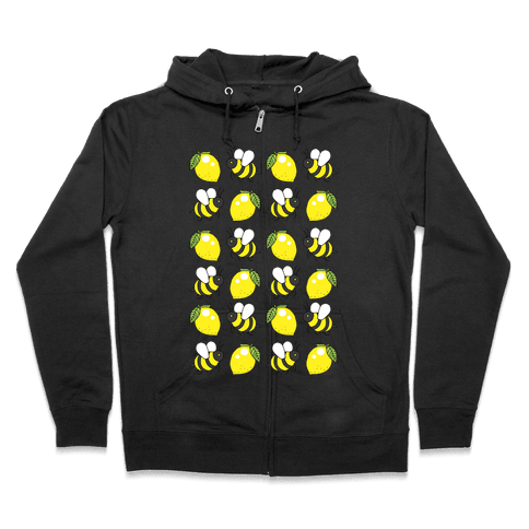 Lemon And Bee Zip Hoodie