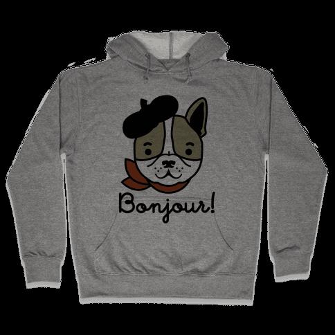 Bonjour French Bulldog Hooded Sweatshirt