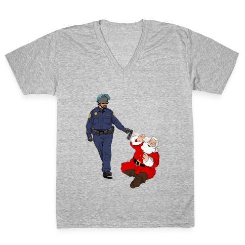 Pike and Santa V-Neck Tee Shirt