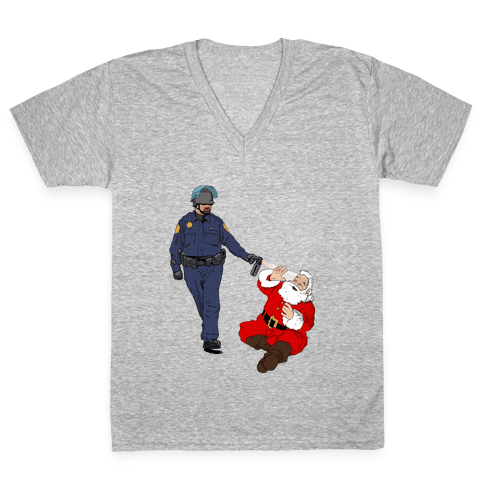 Pike and Santa V-Neck Tee Shirt