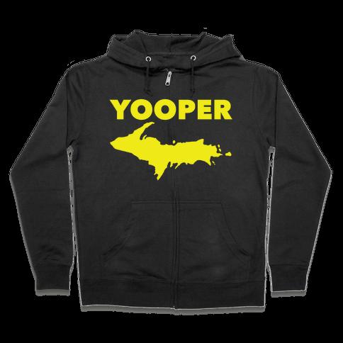 Yooper, Michigan (distressed) Zip Hoodie