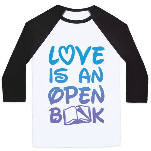 Love Is An Open Book Baseball Tee