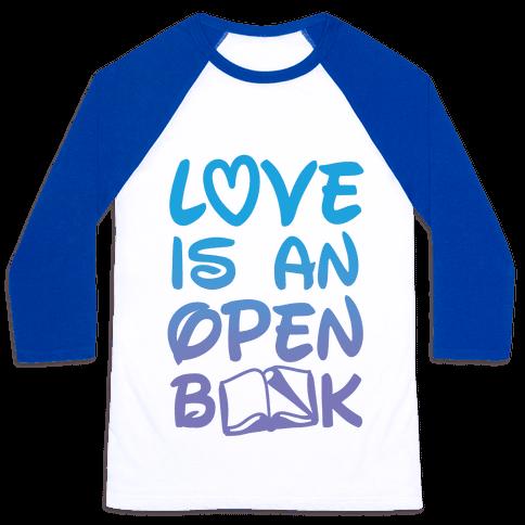 Love Is An Open Book Baseball Tee