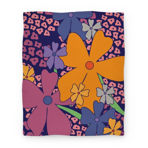 Navy Happy Flowers Pattern Blanket