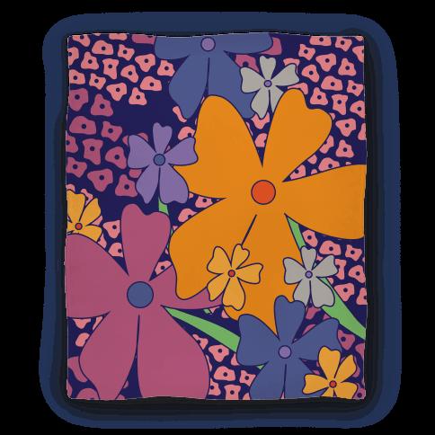 Navy Happy Flowers Pattern Blanket