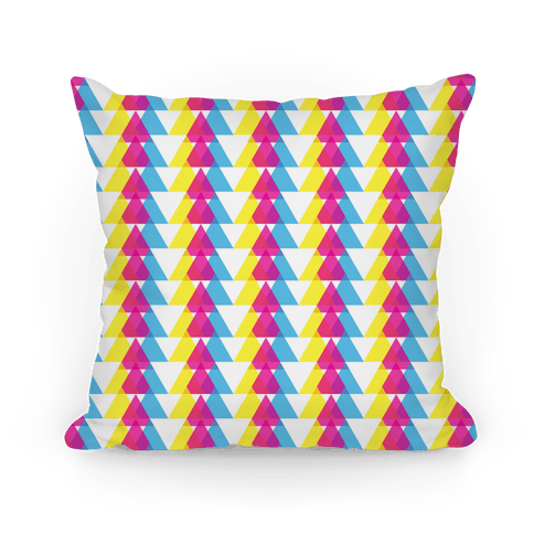 Cyan Magenta Yellow Pattern Pillow