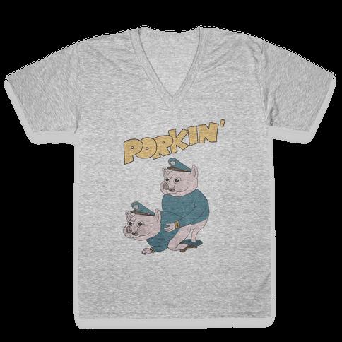 PORKIN' (VINTAGE) V-Neck Tee Shirt