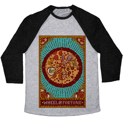 Pizza Wheel of Fortune Tarot Card Baseball Tee