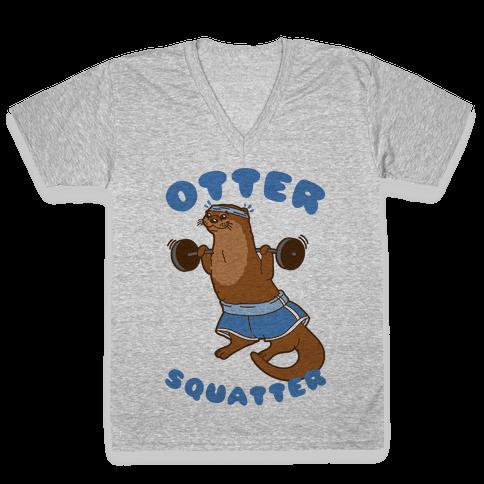 Otter Squatter V-Neck Tee Shirt