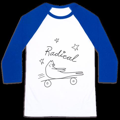 Chill Skateboarding Cat Baseball Tee