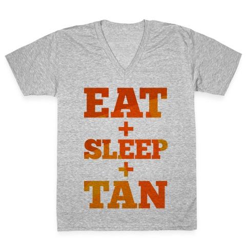Eat + Sleep + Tan V-Neck Tee Shirt