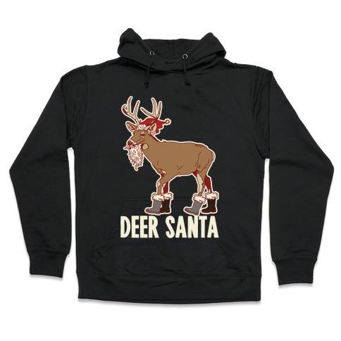 Deer Santa Hooded Sweatshirt