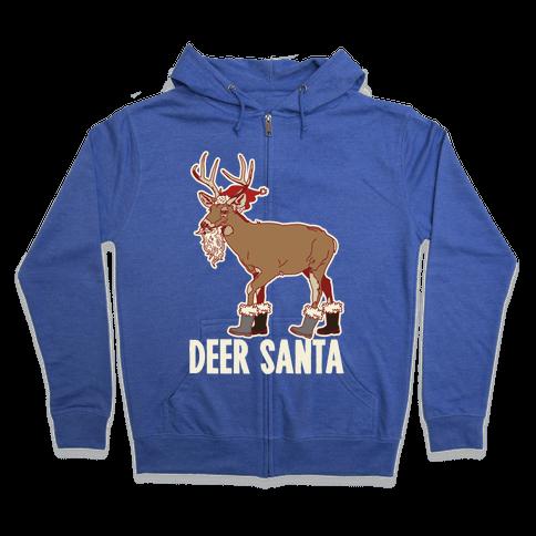 Deer Santa Zip Hoodie