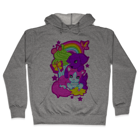 Double Trouble Rainbow Kitty & Puppy Hooded Sweatshirt