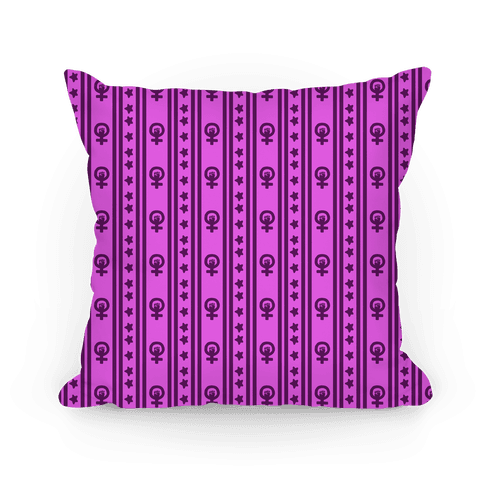 Purple Feminist Symbol Pattern Pillow