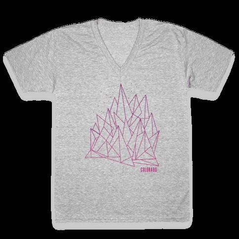 Colorado Mountains Pink V-Neck Tee Shirt