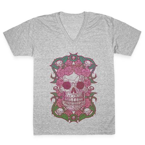 Diamonds and Roses V-Neck Tee Shirt