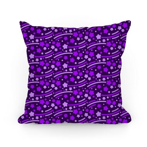 Purple Shooting Stars Pattern Pillow