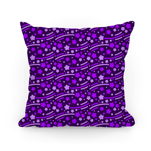 Purple Shooting Stars Pattern Pillow