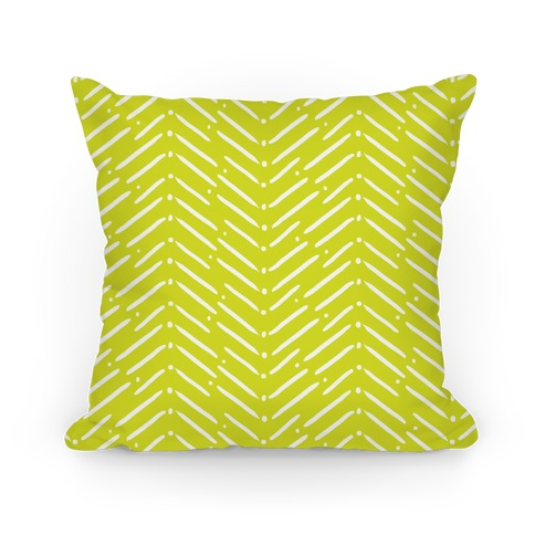 Yellow Green Tribal Doodle Pattern Pillow
