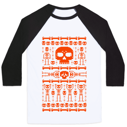 Ugly Skeleton Sweater Baseball Tee